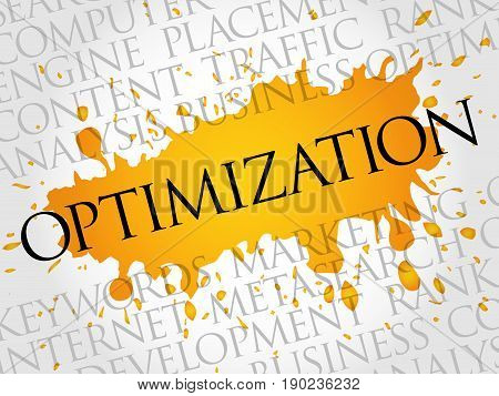 OPTIMIZATION word cloud collage , business concept background