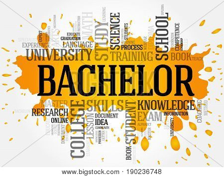 Bachelor word cloud collage education concept background
