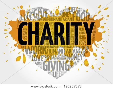 Charity word cloud collage , heart concept