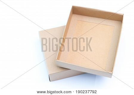 Empty Craft Paper Cardboard Box Isolated On A White