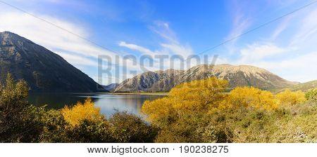 Panoramic image of beautiful Lake Pearson (Moana Rua) in Autumn Arthur's pass National Park South Island of New Zealand