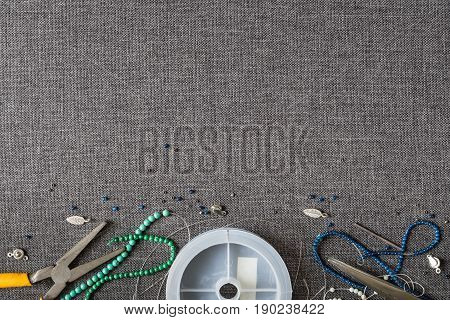 Top View Of Diy Hobby,  Bracelet And Necklace Accessories From Stone Beads With Copy Space