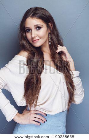 Brunette Girl With Long Wavy Hair
