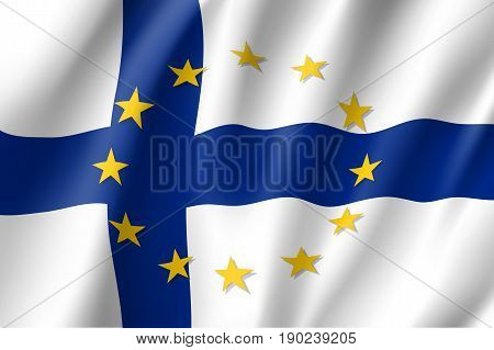 Finland national flag with a circle of European Union twelve gold stars, symbol of unity with EU, member since 1 January 1995. Realistic vector style illustration