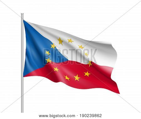 Czech Republic national waving flag with a circle of European Union twelve gold stars, identity and unity with EU, member since 1 May 2004. Realistic vector illustration