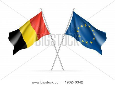 Belgium and European Union waving flags on flagpole. EU sign with twelve gold stars on blue and Belgium national symbol black, yellow and red colors. Isolated on white background