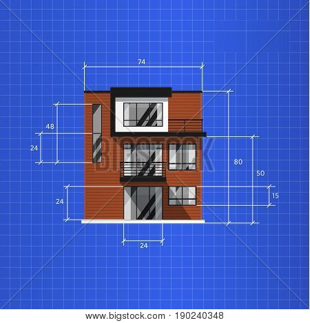 Architectural plan isolated on blue background vector illustration. Front view of three storey house. Architecture family home. Real estate concept. House design progress, technical draw