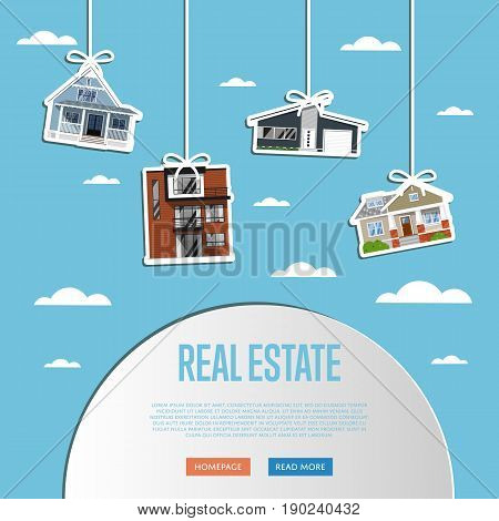 Real estate agency website template vector illustration. Commercial background. Real estate business concept with houses. Family dream home. Trading house. Advertising company, online business.