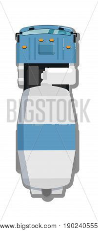 Concrete mixer truck isolated top view icon. Commercial van, modern lorry car, freight transport side view vector illustration.