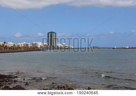 View of the tallest building in the capital Arrecife on Lanzarote.