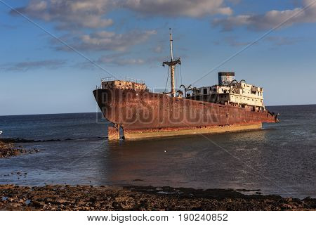 An Old Shipwreck Located Outside The Capital Arrecife On Lanzarote.