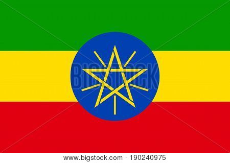 National flag of Ethiopia. Sign african state in proportion correctly and official colors red, green, yellow. Patriotic sign Eastern Africa country. Vector icon illustration