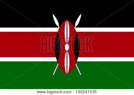 National flag of Kenya. Sign african state Kenyan official colors. Patriotic sign East Africa country. Vector icon illustration