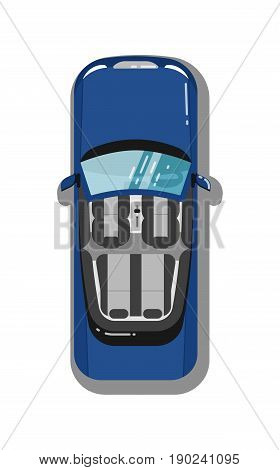 Modern cabriolet car top view isolated icon. Sport car, luxury automobile, people transport vector illustration.