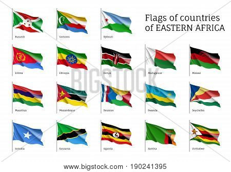 Set of waving flags of Eastern African states Djibouti, Comoros, Burundi and Eritrea, Ethiopia, Kenya, Malawi and Mauritius. 18 ensigns on flagpole of East Africa countries. Vector isolated icons