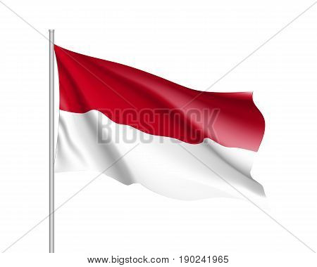 Waving flag of Indonesian Republic. Illustration of Asian country flag on flagpole. Vector 3d icon isolated on white background