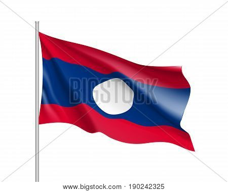 Waving flag of Laos. Illustration of Asian country flag on flagpole. Vector 3d icon isolated on white background