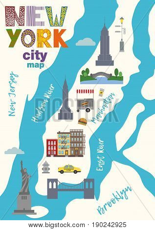 Vector llustration  City map of Manhattan in New York  in trendy flat style