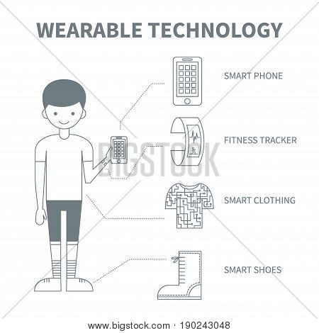 Wearable technology. Vector monochrome illustration with a man, fitness gadgets (tracker and smart phone), smart clothing and shoes. Thin line icons. Could be used for magazine or blog infographic.