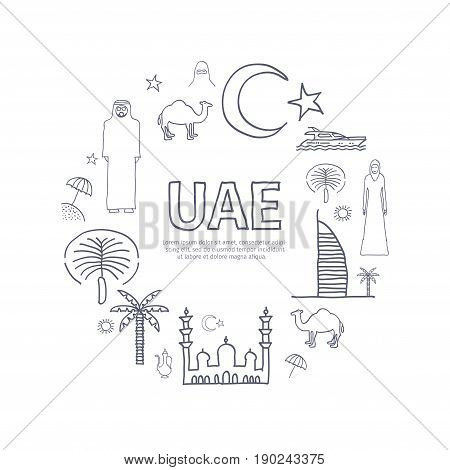UAE hand drawn banner. United Arab Emirates poster for travel company. Thin line icons Template with UAE elements.