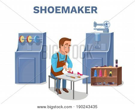 Cobbler cartoon character repairing shoes with shoemaker tools colorful vector illustration including carpenter repair instruments, shoe machines, boots, sewing machine, glue, threads, brushes