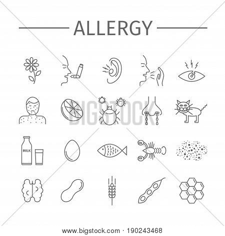 Allergy. Causes, symptoms. Line icons set. Vector signs for web graphics