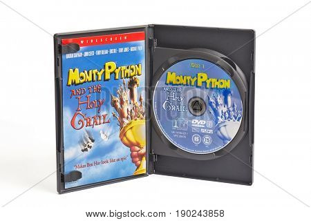 BUDAPEST, HUNGARY - JUNE 01, 2017: Monty Python And The Holy Grail double DVD edition, one of the most classic British comedy movies.