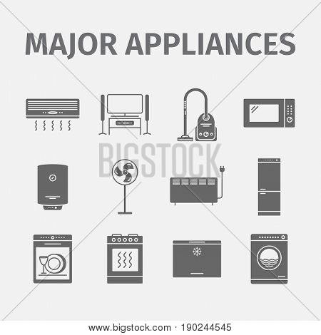 Vector major domestic appliances and electronics icon set.