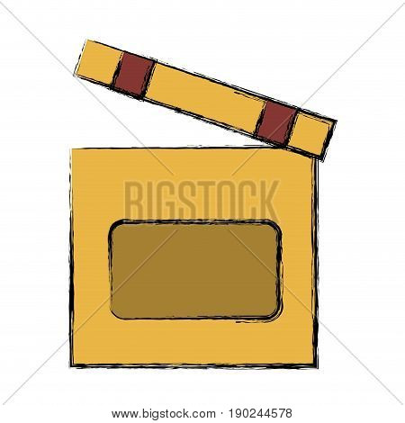 clapboard icon over white background vector illustration