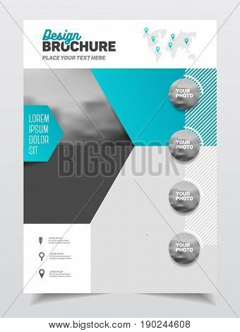 Blue Business Brochure design. Annual report vector illustration template. A4 size corporate business catalogue cover. Business presentation with photo and geometric graphic elements.