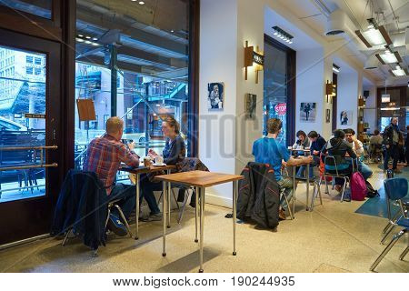 CHICAGO, IL - CIRCA MARCH, 2016: people at Dollop Coffee in Chicago.