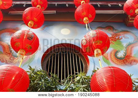 Red Chinese lanterns in new year day.