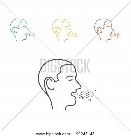 Bad Breath set. Line Icon Vector illustration