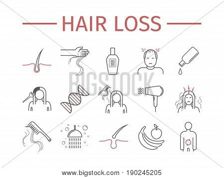 Hair Loss. Line icons set. Vector signs for web graphics.