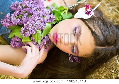Cute Girl With Adorable Face And Flowers In Hair