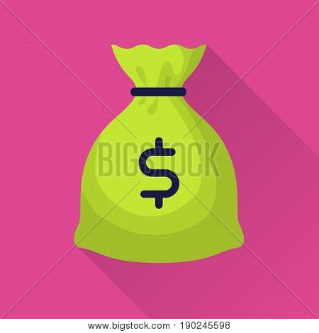 Moneybag with dollar sign. Flat internet icon with long shadow in cartoon style. Web and mobile design element. Bag with cash. Vector colored illustration.