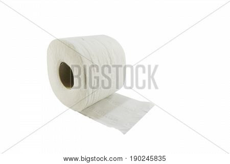 Tissue paper roll on white background soft focus, isolated