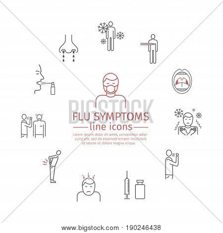 Flu Symptoms. Influenza. Treatment. Line icons set. Vector icons