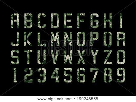 Vector illustration of Military font with pixels camouflage