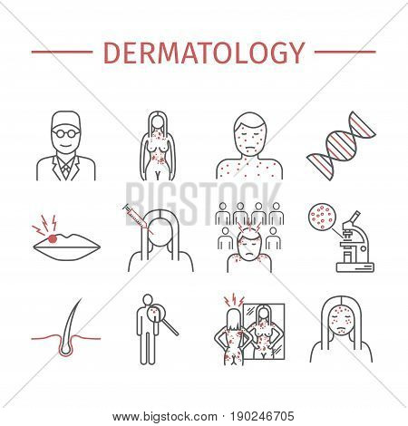 Dermatology. Line icons set. Vector signs for web graphics.