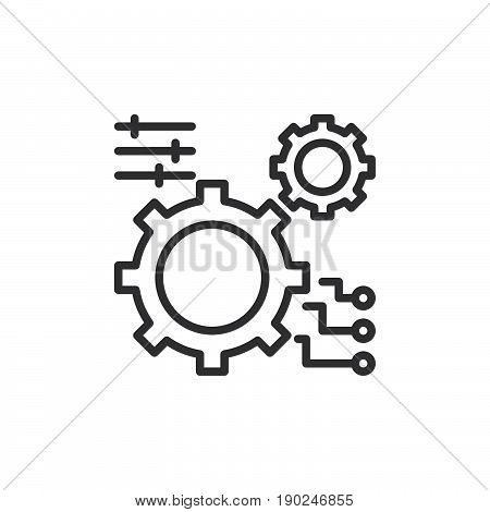 Gear settings line icon outline vector sign linear style pictogram isolated on white. Symbol logo illustration. Editable stroke. Pixel perfect