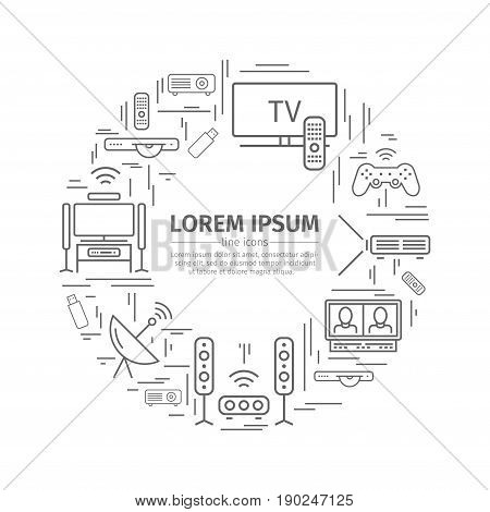 Home theater web banner. Advertising template. Flat icons. House technology. Vector illustration