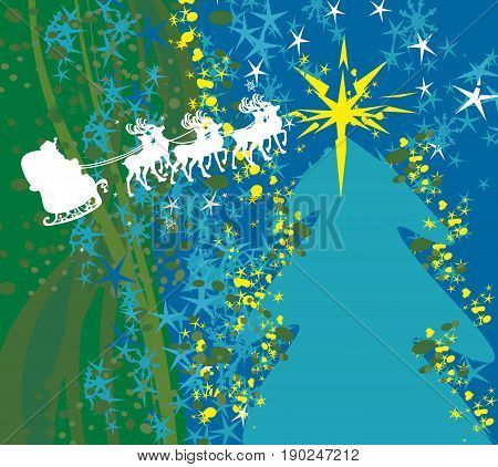 Abstract card with Santa Claus silhouette , vector illustration