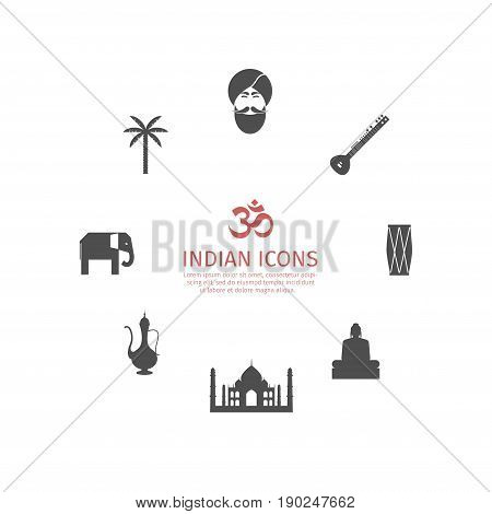 India icons set. Vector sign pictogram symbol