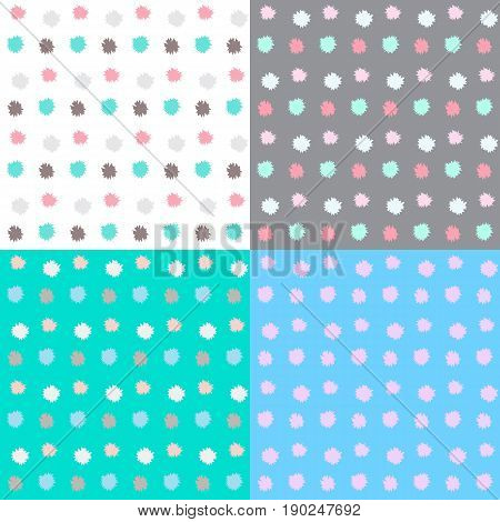 Set of four pattern with dot. Vector illustration of colorful background with blotch.