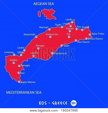 Island Of Kos In Greece Red Map Illustration