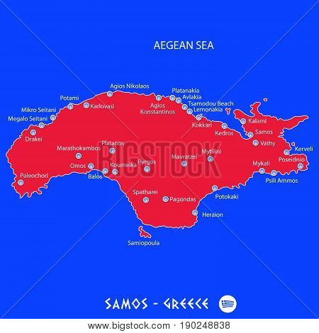 Island Of Samos In Greece Red Map Illustration