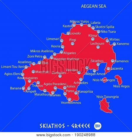 Island Of Skiathos In Greece Red Map Illustration
