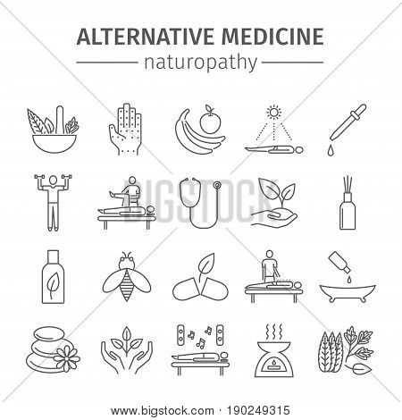 Alternative Medicine line icons set. Naturopathy sign.