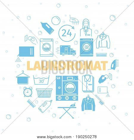 Laundromat banner. Self-service laundry. Dry cleaning services. Vector icons